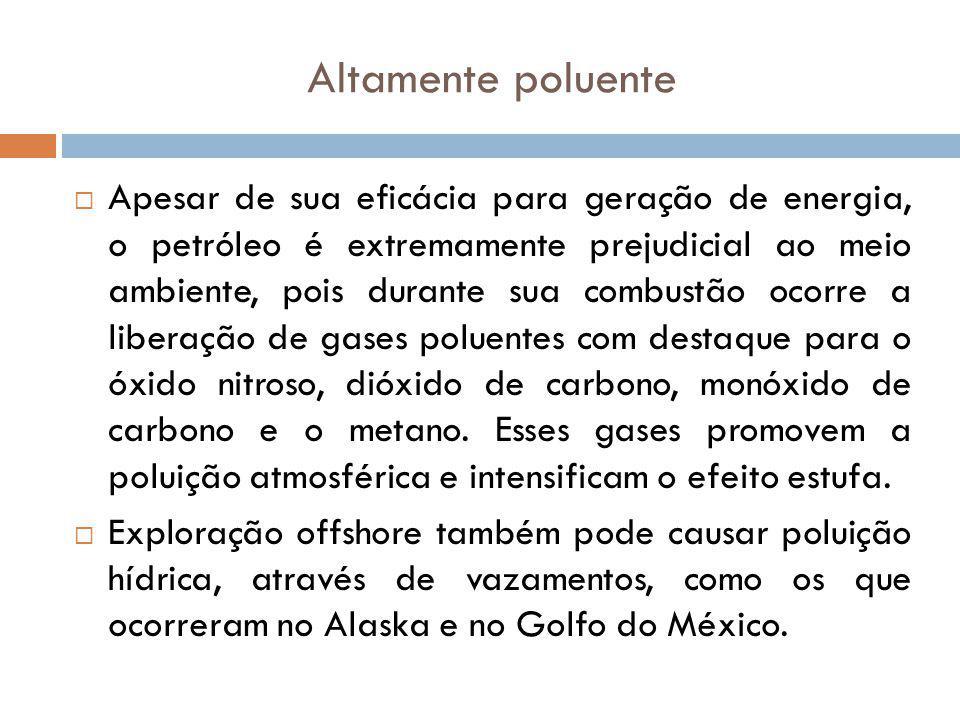 Altamente poluente Apesar de sua eficácia para geração de energia, o petróleo é extremamente prejudicial ao meio ambiente, pois durante sua combustão