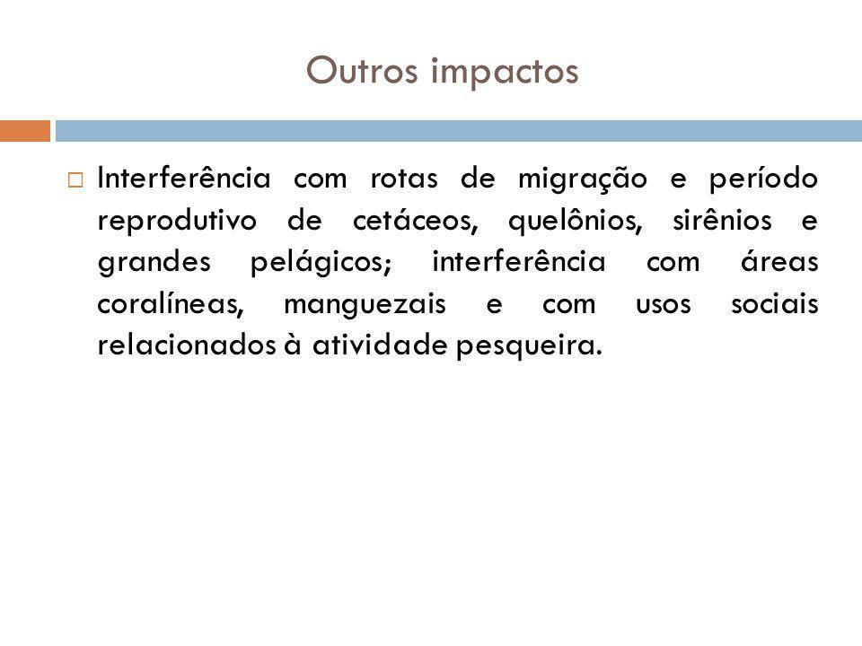 Outros impactos Interferência com rotas de migração e período reprodutivo de cetáceos, quelônios, sirênios e grandes pelágicos; interferência com área