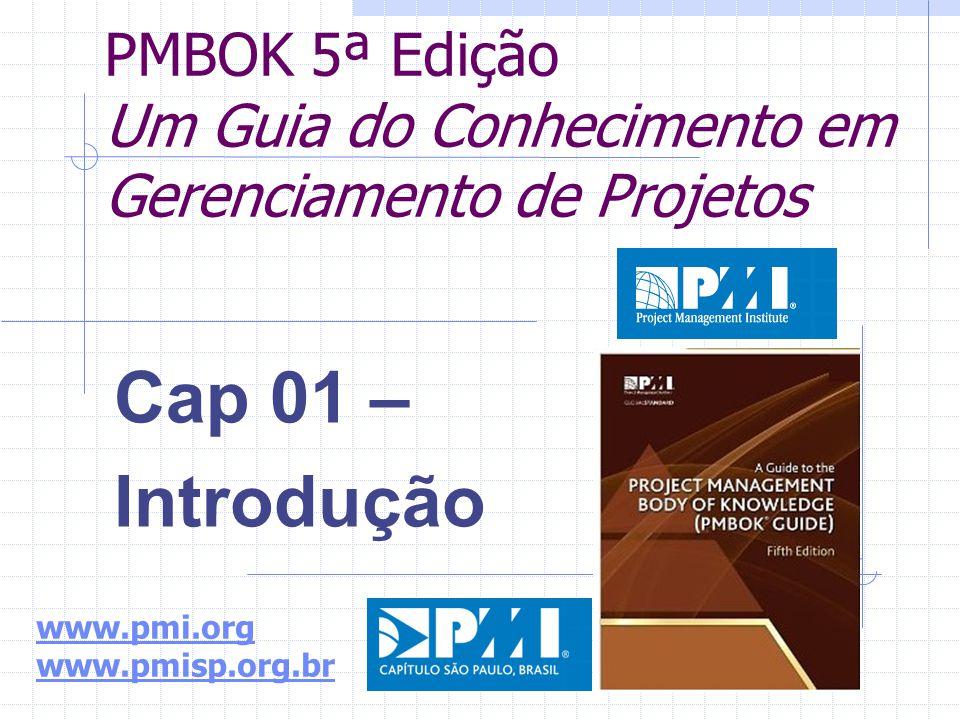 PMBOK 5ª Edição Um Guia do Conhecimento em Gerenciamento de Projetos Cap 01 – Introdução www.pmi.org www.pmisp.org.br