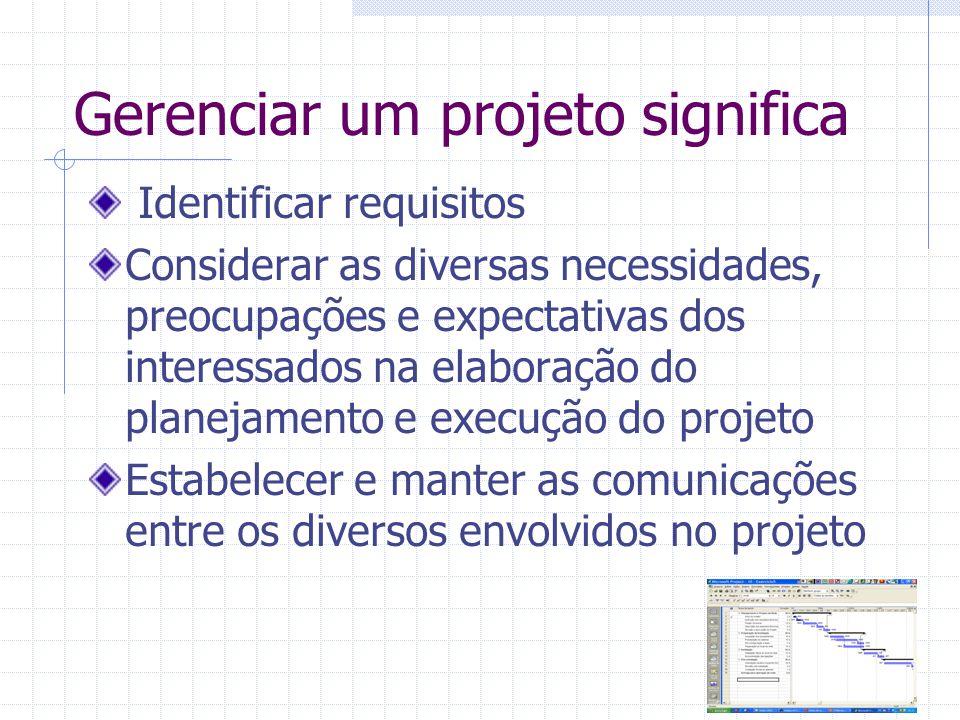 Gerenciar um projeto significa Identificar requisitos Considerar as diversas necessidades, preocupações e expectativas dos interessados na elaboração