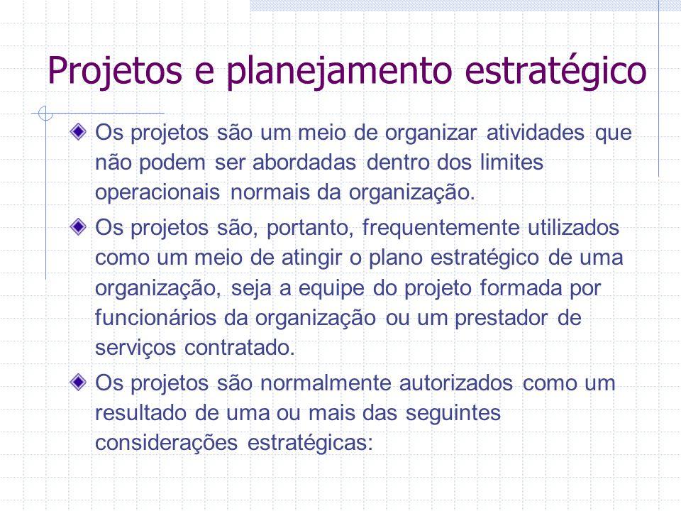 Projetos e planejamento estratégico Os projetos são um meio de organizar atividades que não podem ser abordadas dentro dos limites operacionais normai