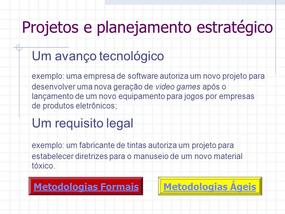 Projetos e planejamento estratégico Um avanço tecnológico exemplo: uma empresa de software autoriza um novo projeto para desenvolver uma nova geração