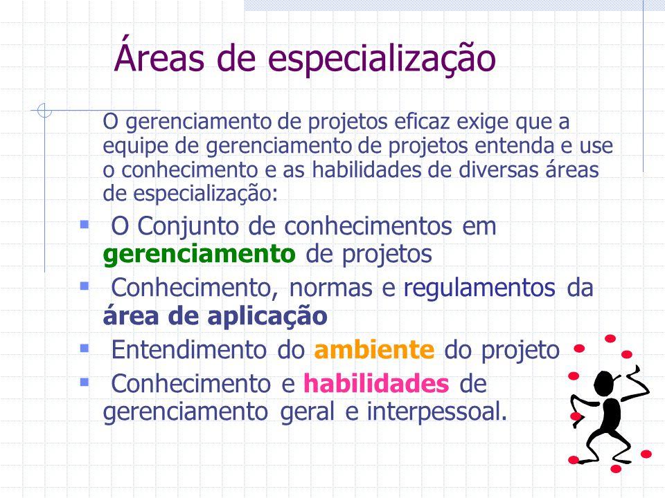 Áreas de especialização O gerenciamento de projetos eficaz exige que a equipe de gerenciamento de projetos entenda e use o conhecimento e as habilidad