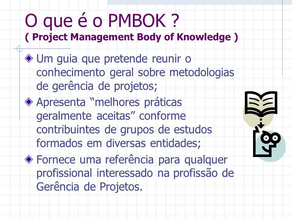 O que é o PMBOK ? ( Project Management Body of Knowledge ) Um guia que pretende reunir o conhecimento geral sobre metodologias de gerência de projetos