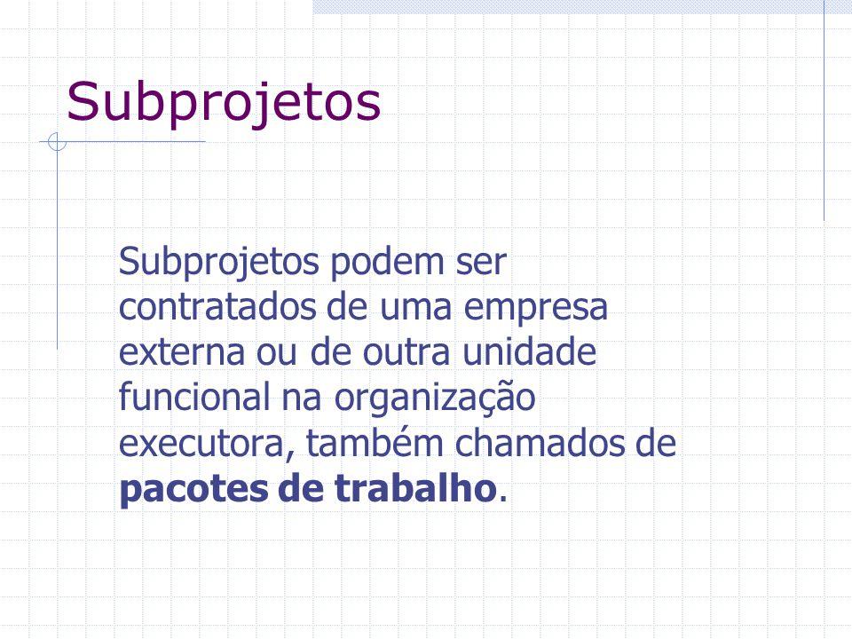 Subprojetos Subprojetos podem ser contratados de uma empresa externa ou de outra unidade funcional na organização executora, também chamados de pacote