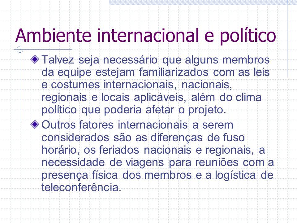 Ambiente internacional e político Talvez seja necessário que alguns membros da equipe estejam familiarizados com as leis e costumes internacionais, na