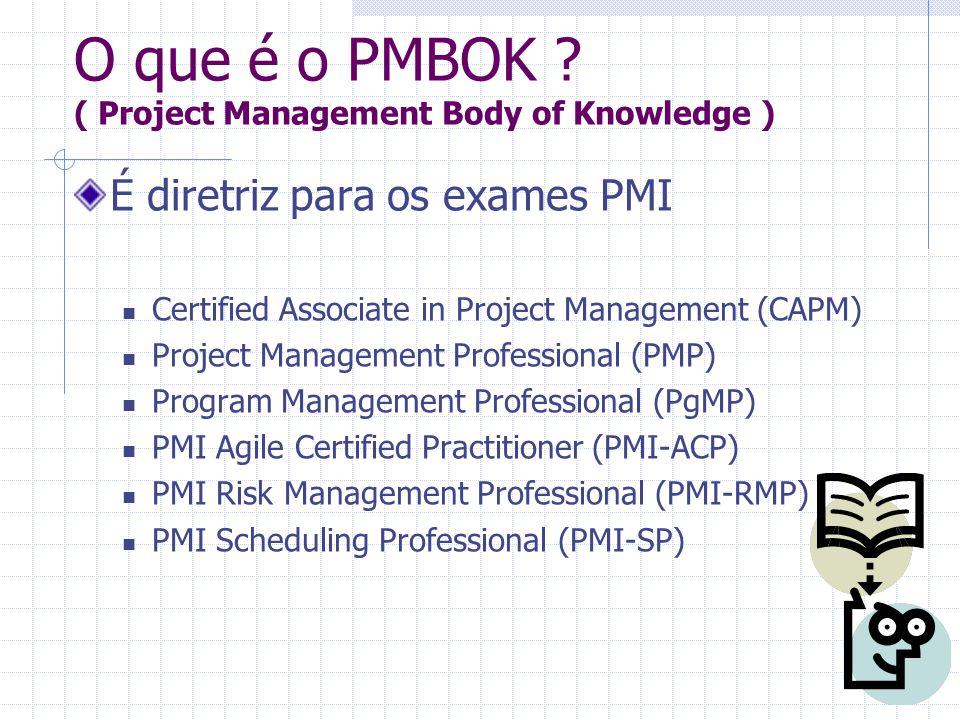 É diretriz para os exames PMI Certified Associate in Project Management (CAPM) Project Management Professional (PMP) Program Management Professional (