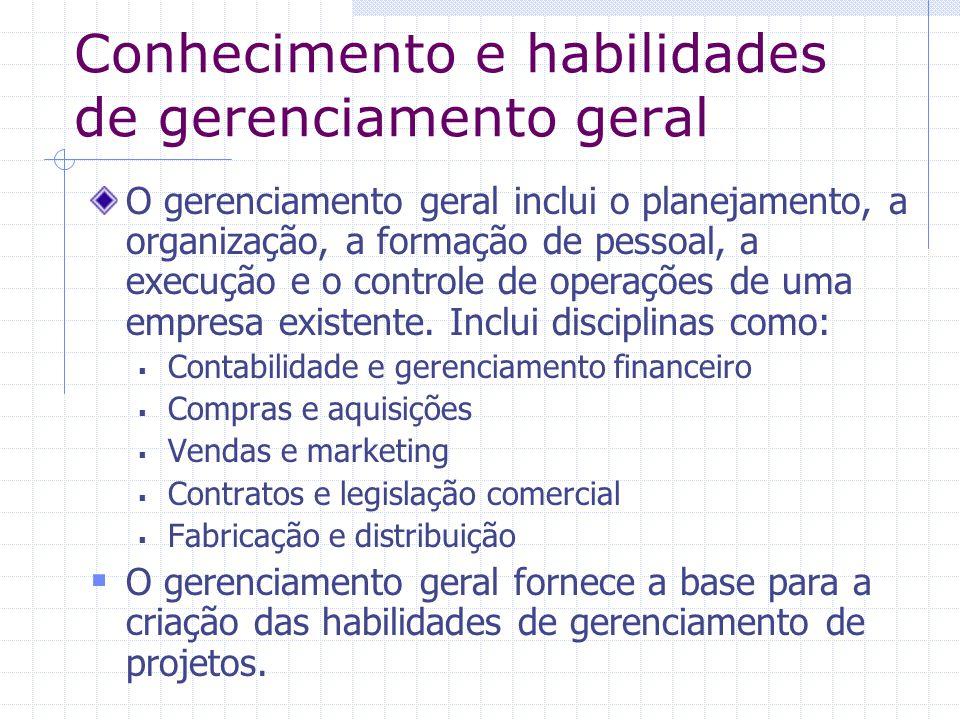 Conhecimento e habilidades de gerenciamento geral O gerenciamento geral inclui o planejamento, a organização, a formação de pessoal, a execução e o co