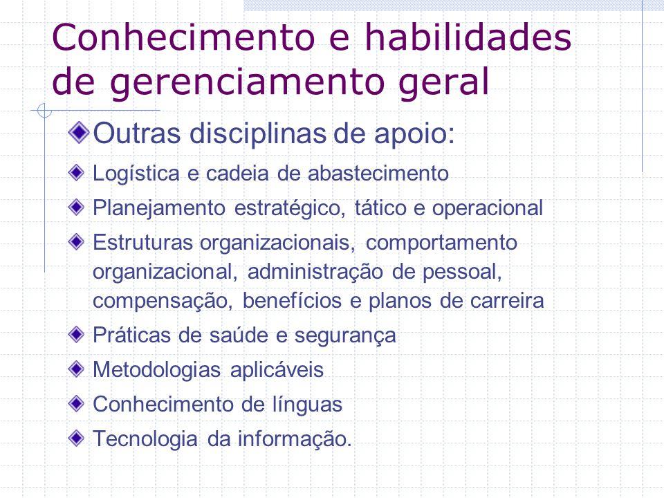 Conhecimento e habilidades de gerenciamento geral Outras disciplinas de apoio: Logística e cadeia de abastecimento Planejamento estratégico, tático e