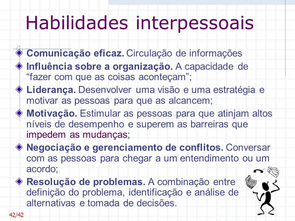 Habilidades interpessoais Comunicação eficaz. Circulação de informações Influência sobre a organização. A capacidade de fazer com que as coisas aconte