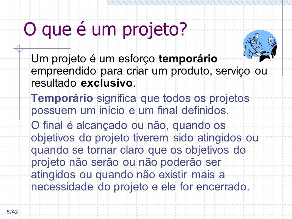 O que é um projeto? Um projeto é um esforço temporário empreendido para criar um produto, serviço ou resultado exclusivo. Temporário significa que tod