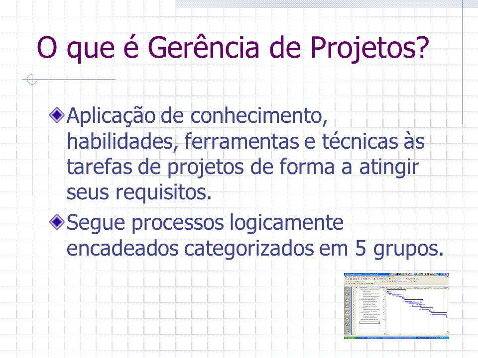 O que é Gerência de Projetos? Aplicação de conhecimento, habilidades, ferramentas e técnicas às tarefas de projetos de forma a atingir seus requisitos