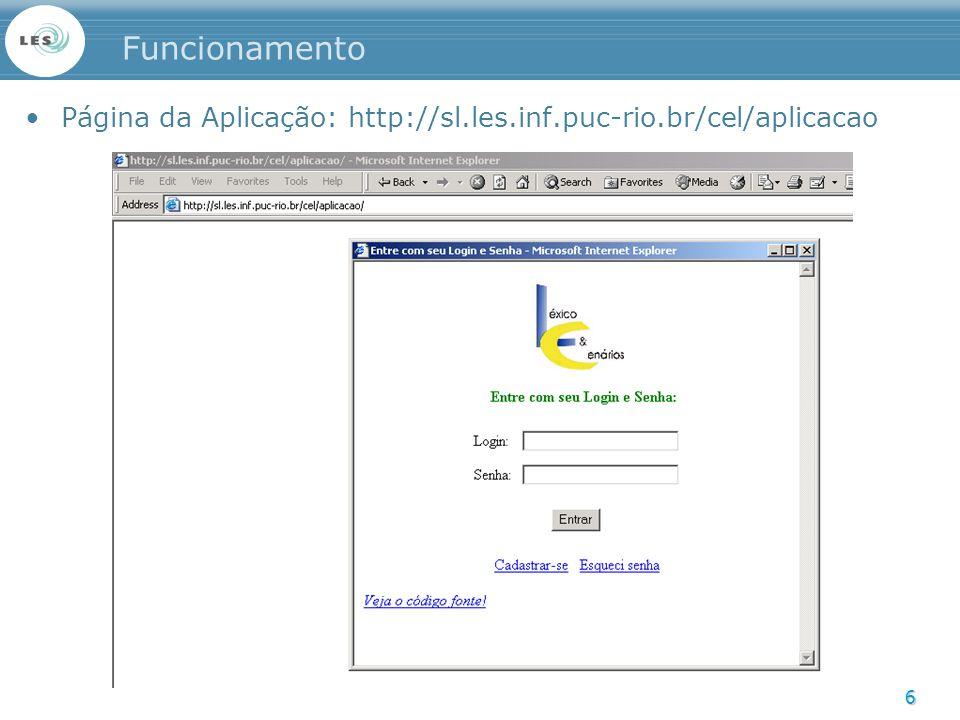 6 Funcionamento Página da Aplicação: http://sl.les.inf.puc-rio.br/cel/aplicacao