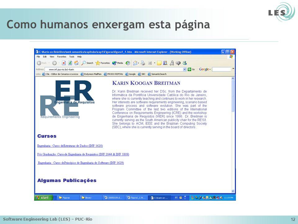 Software Engineering Lab (LES) – PUC-Rio 12 Como humanos enxergam esta página
