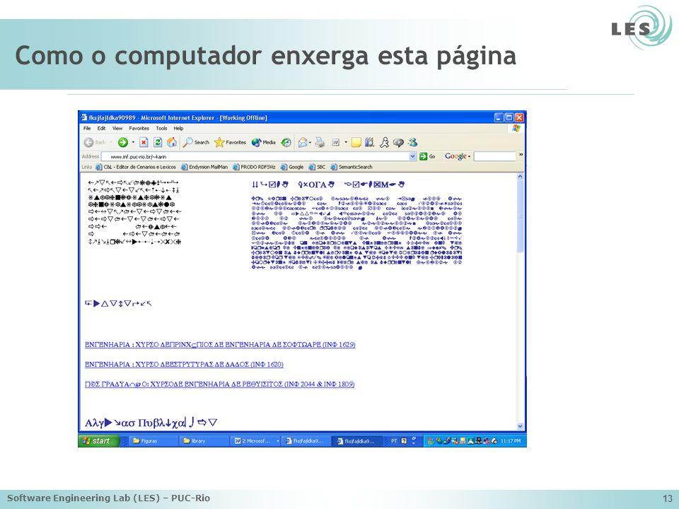 Software Engineering Lab (LES) – PUC-Rio 13 Como o computador enxerga esta página