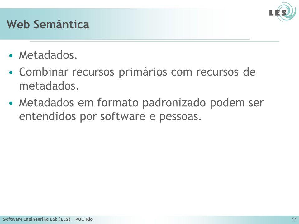 Software Engineering Lab (LES) – PUC-Rio 17 Web Semântica Metadados.
