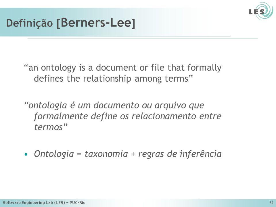 Software Engineering Lab (LES) – PUC-Rio 32 Definição [ Berners-Lee ] an ontology is a document or file that formally defines the relationship among terms ontologia é um documento ou arquivo que formalmente define os relacionamento entre termos Ontologia = taxonomia + regras de inferência