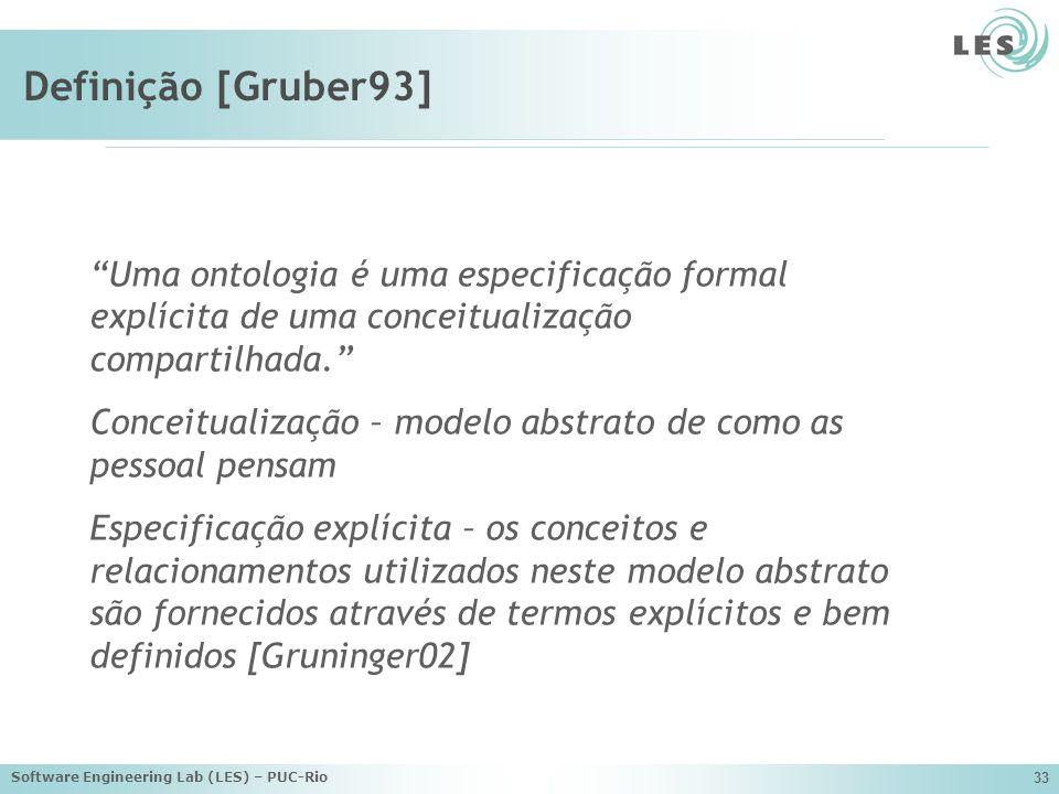 Software Engineering Lab (LES) – PUC-Rio 33 Definição [Gruber93] Uma ontologia é uma especificação formal explícita de uma conceitualização compartilhada.