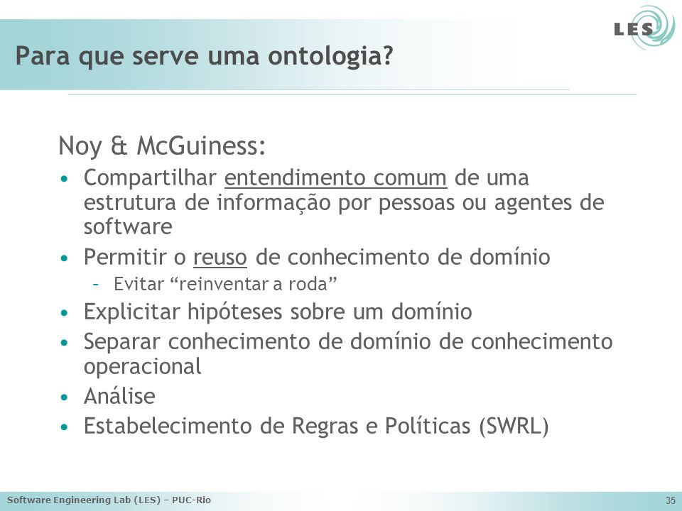 Software Engineering Lab (LES) – PUC-Rio 35 Para que serve uma ontologia.