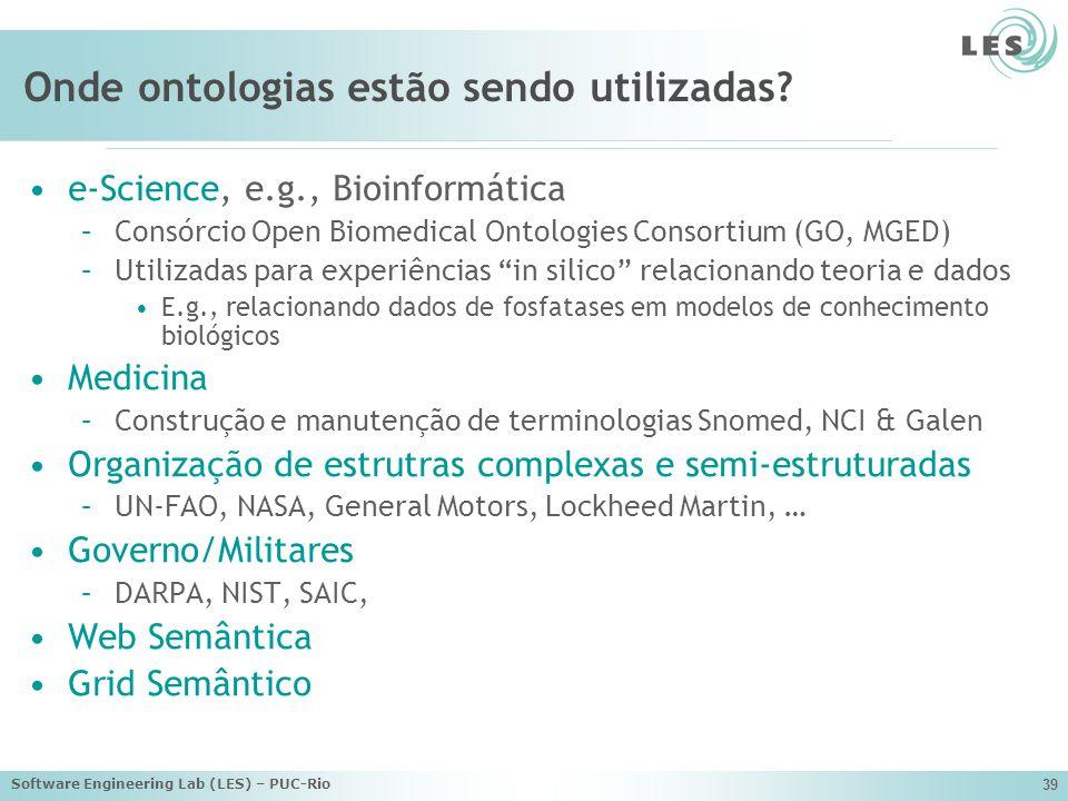 Software Engineering Lab (LES) – PUC-Rio 39 Onde ontologias estão sendo utilizadas.