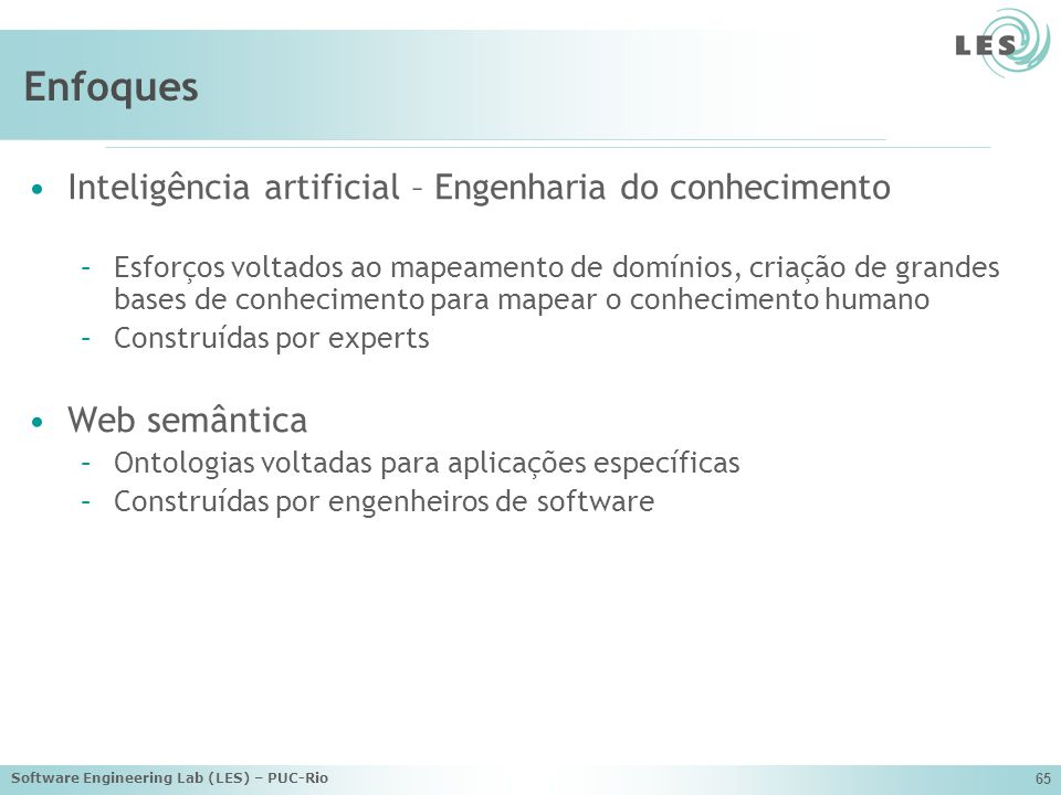 Software Engineering Lab (LES) – PUC-Rio 65 Enfoques Inteligência artificial – Engenharia do conhecimento –Esforços voltados ao mapeamento de domínios, criação de grandes bases de conhecimento para mapear o conhecimento humano –Construídas por experts Web semântica –Ontologias voltadas para aplicações específicas –Construídas por engenheiros de software