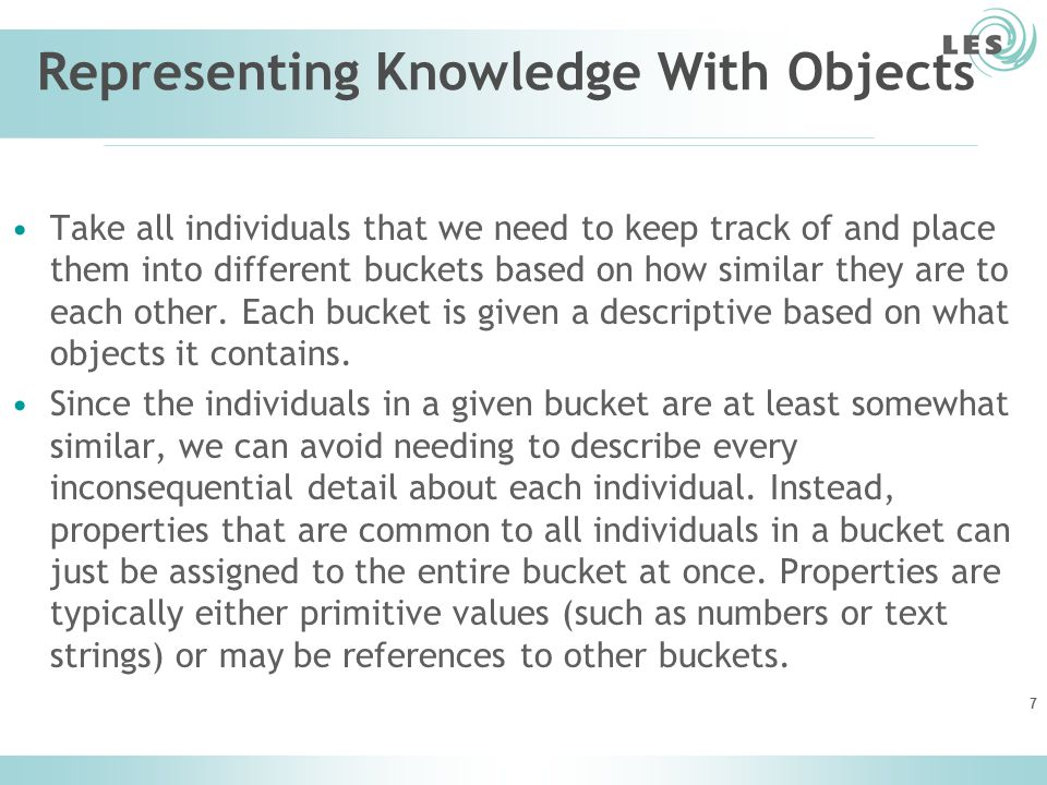 Representing Knowledge With Objects Take all individuals that we need to keep track of and place them into different buckets based on how similar they are to each other.