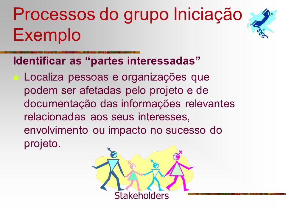 Processos do grupo Iniciação Exemplo Identificar as partes interessadas Localiza pessoas e organizações que podem ser afetadas pelo projeto e de docum