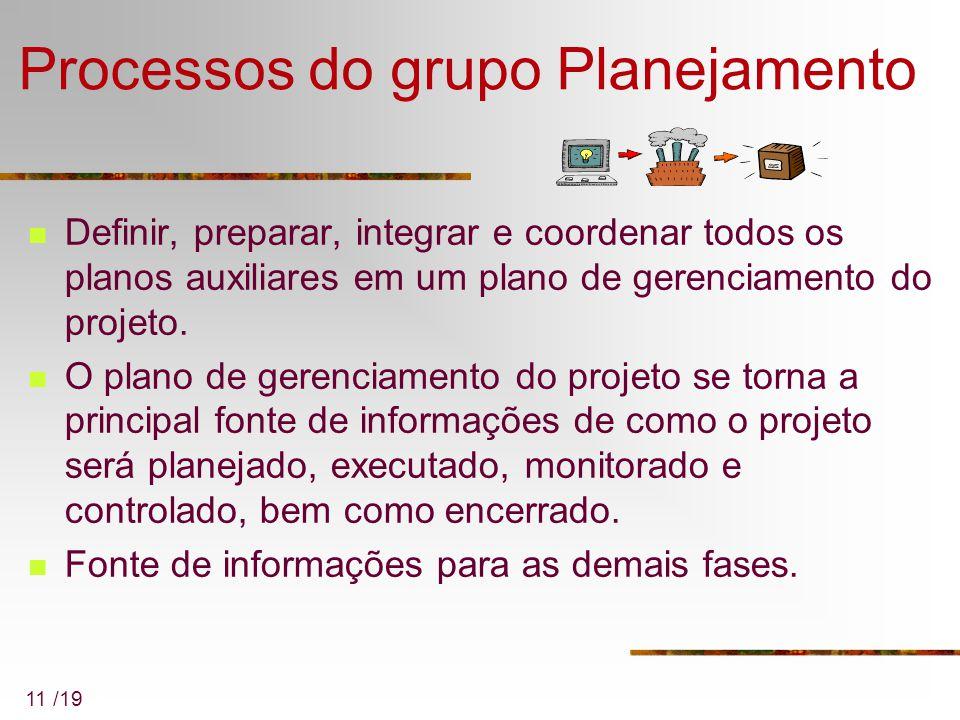 11 /19 Processos do grupo Planejamento Definir, preparar, integrar e coordenar todos os planos auxiliares em um plano de gerenciamento do projeto. O p