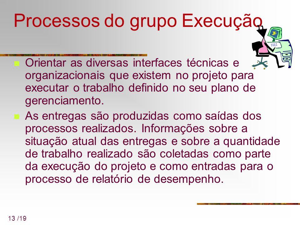 13 /19 Processos do grupo Execução Orientar as diversas interfaces técnicas e organizacionais que existem no projeto para executar o trabalho definido