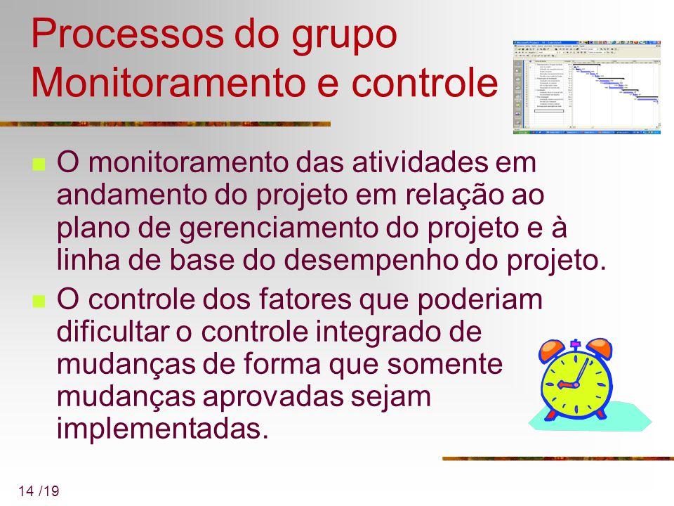 14 /19 Processos do grupo Monitoramento e controle O monitoramento das atividades em andamento do projeto em relação ao plano de gerenciamento do proj