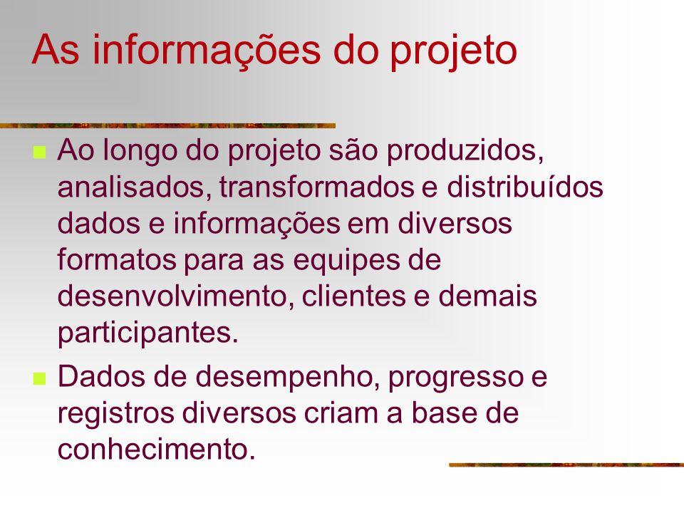 As informações do projeto Ao longo do projeto são produzidos, analisados, transformados e distribuídos dados e informações em diversos formatos para a