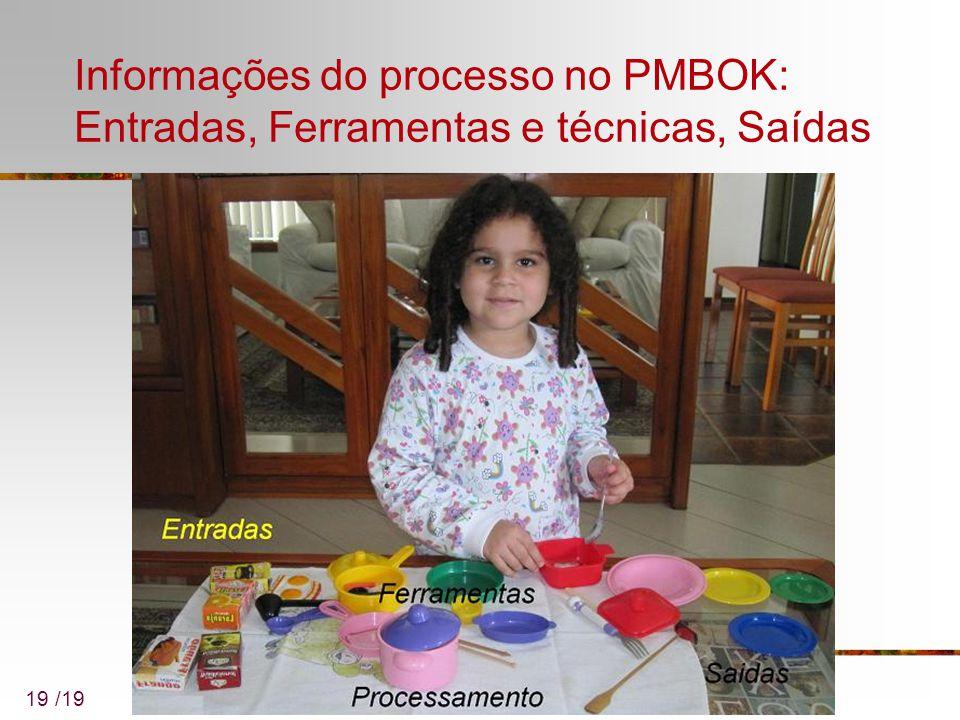 Informações do processo no PMBOK: Entradas, Ferramentas e técnicas, Saídas 19 /19