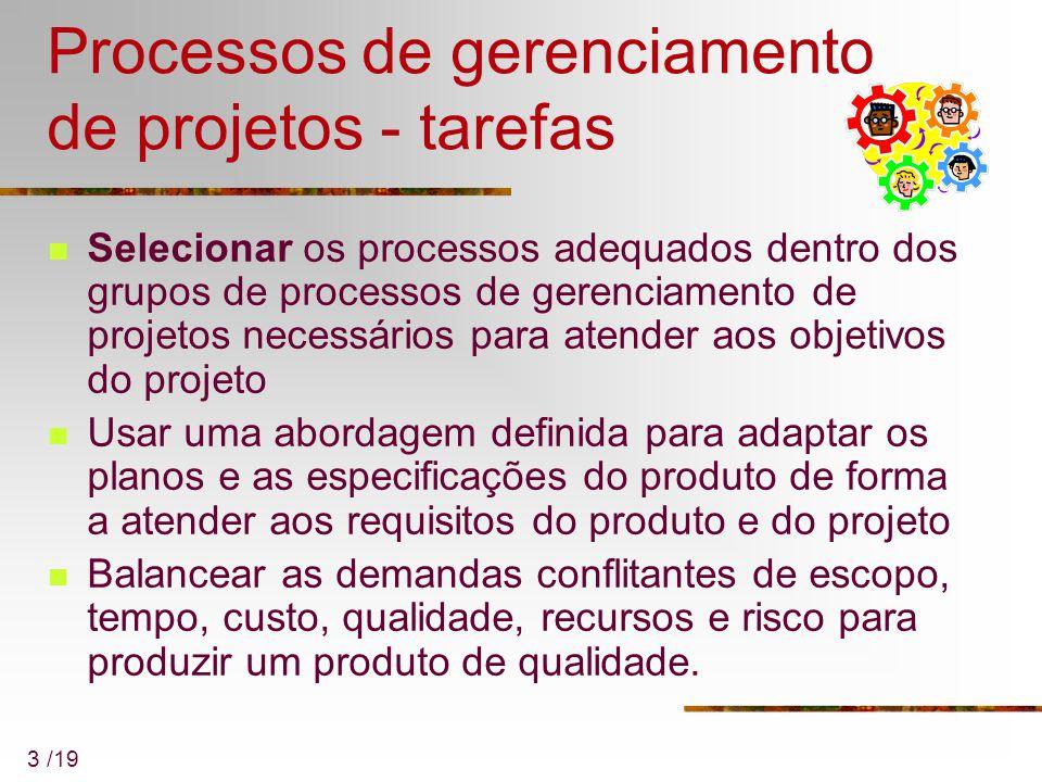 3 /19 Processos de gerenciamento de projetos - tarefas Selecionar os processos adequados dentro dos grupos de processos de gerenciamento de projetos n