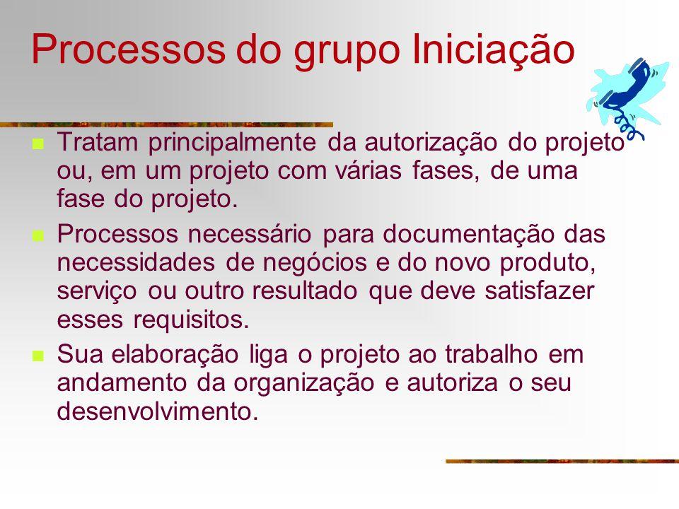 Processos do grupo Iniciação Tratam principalmente da autorização do projeto ou, em um projeto com várias fases, de uma fase do projeto. Processos nec