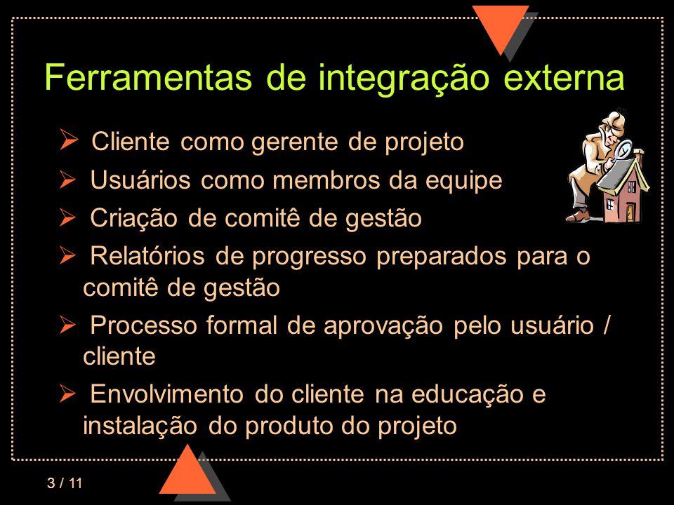 3 / 11 Ferramentas de integração externa Cliente como gerente de projeto Usuários como membros da equipe Criação de comitê de gestão Relatórios de progresso preparados para o comitê de gestão Processo formal de aprovação pelo usuário / cliente Envolvimento do cliente na educação e instalação do produto do projeto