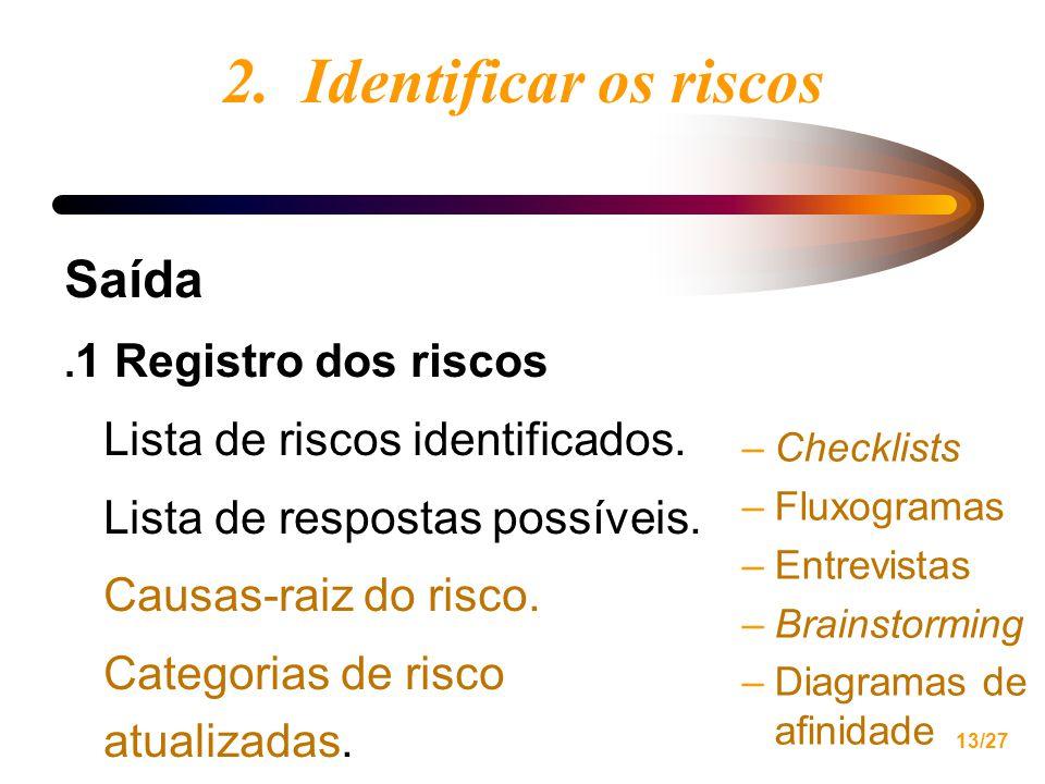 13/27 2.Identificar os riscos Saída. 1 Registro dos riscos Lista de riscos identificados.