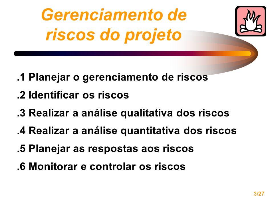 3/27 Gerenciamento de riscos do projeto.1 Planejar o gerenciamento de riscos.2 Identificar os riscos.3 Realizar a análise qualitativa dos riscos.4 Realizar a análise quantitativa dos riscos.5 Planejar as respostas aos riscos.6 Monitorar e controlar os riscos