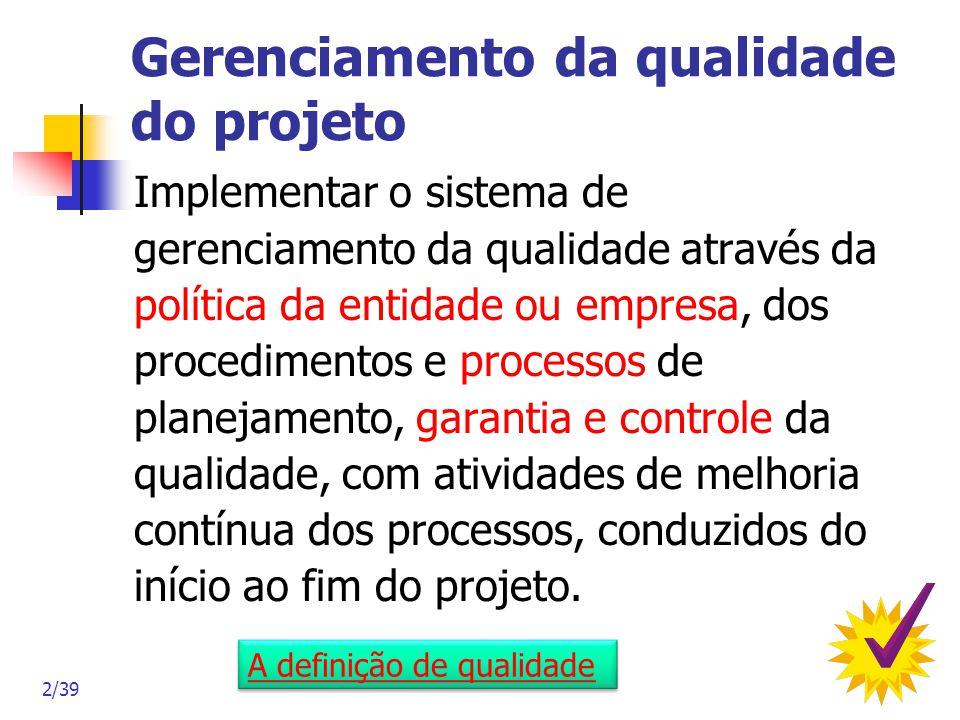 2/39 Gerenciamento da qualidade do projeto Implementar o sistema de gerenciamento da qualidade através da política da entidade ou empresa, dos procedi
