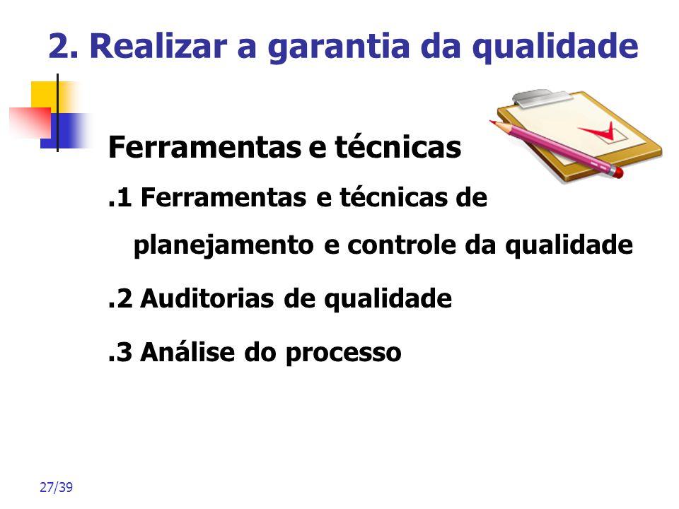 27/39 2. Realizar a garantia da qualidade Ferramentas e técnicas.1 Ferramentas e técnicas de planejamento e controle da qualidade.2 Auditorias de qual
