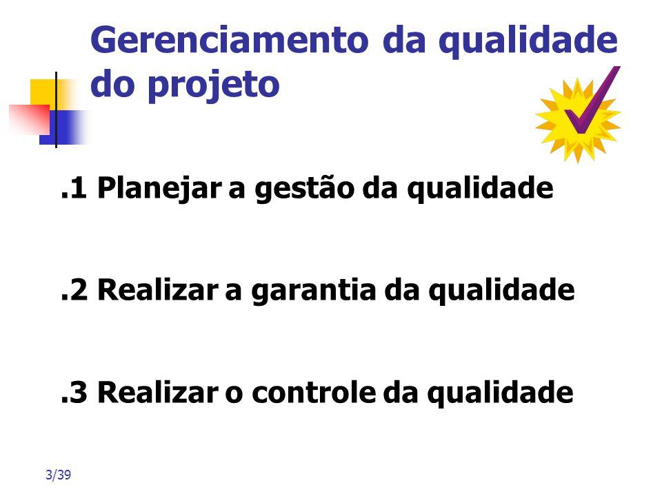 3/39 Gerenciamento da qualidade do projeto.1 Planejar a gestão da qualidade.2 Realizar a garantia da qualidade.3 Realizar o controle da qualidade