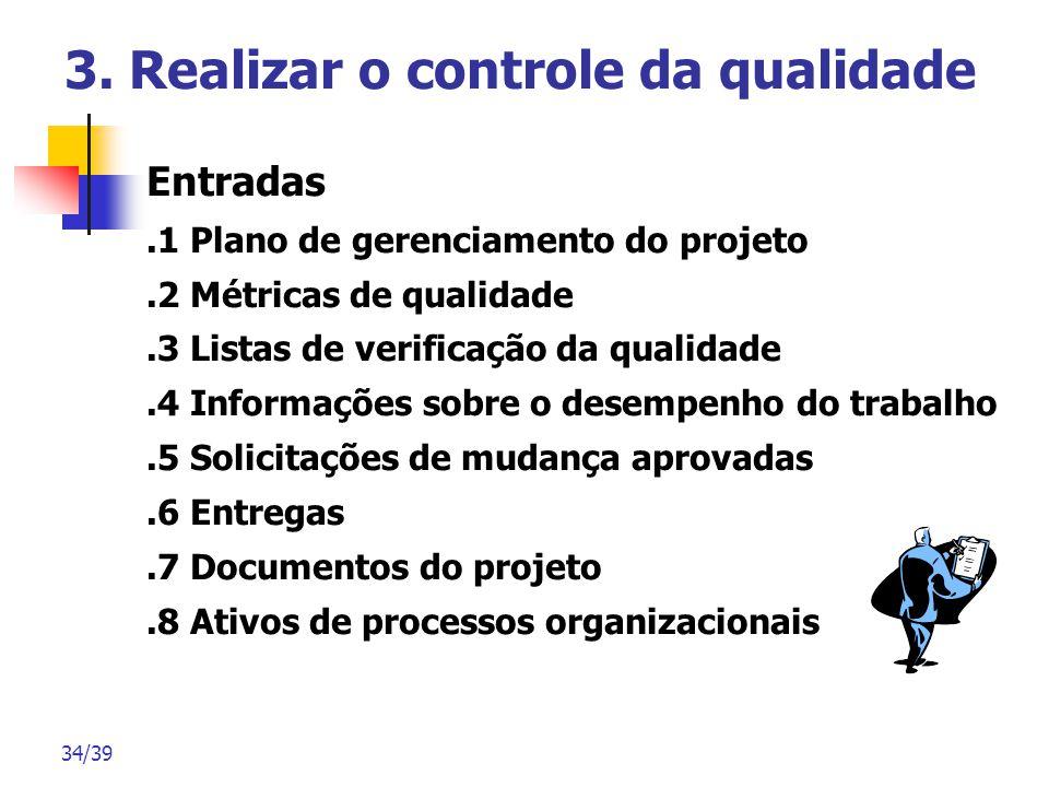 34/39 3. Realizar o controle da qualidade Entradas.1 Plano de gerenciamento do projeto.2 Métricas de qualidade.3 Listas de verificação da qualidade.4