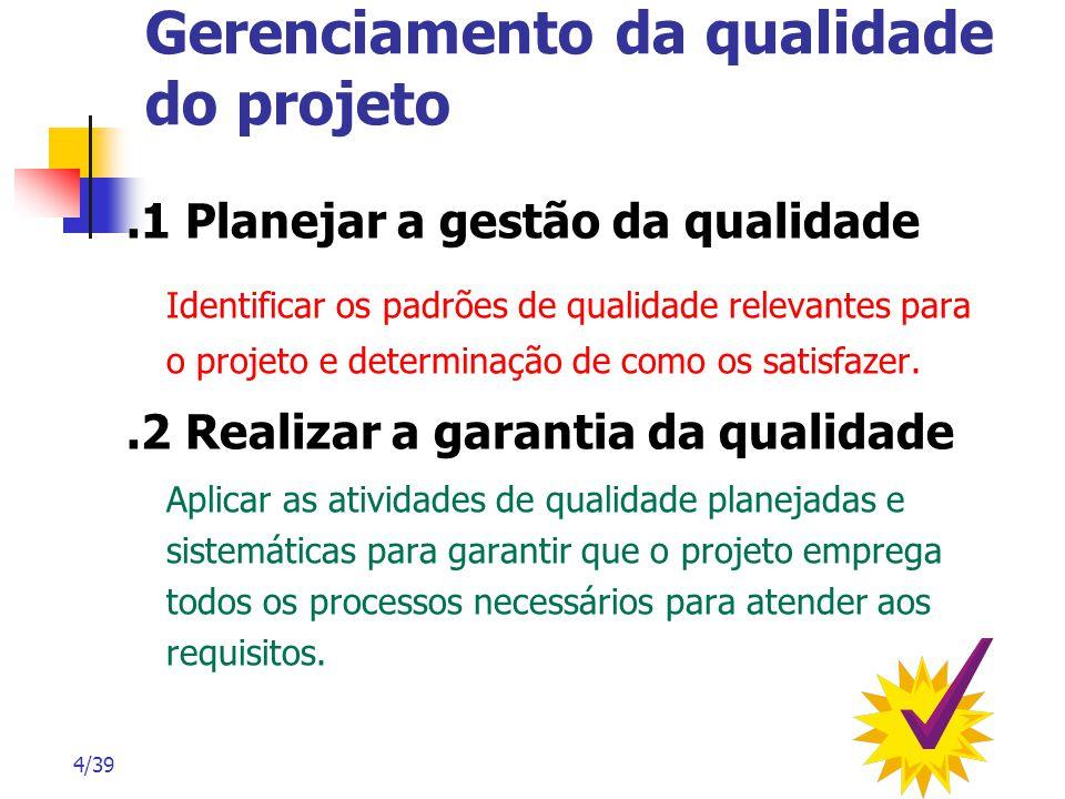4/39 Gerenciamento da qualidade do projeto.1 Planejar a gestão da qualidade Identificar os padrões de qualidade relevantes para o projeto e determinaç