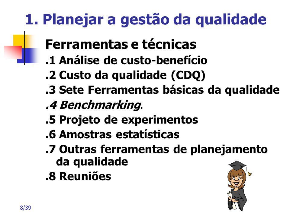 8/39 1. Planejar a gestão da qualidade Ferramentas e técnicas.1 Análise de custo-benefício.2 Custo da qualidade (CDQ).3 Sete Ferramentas básicas da qu