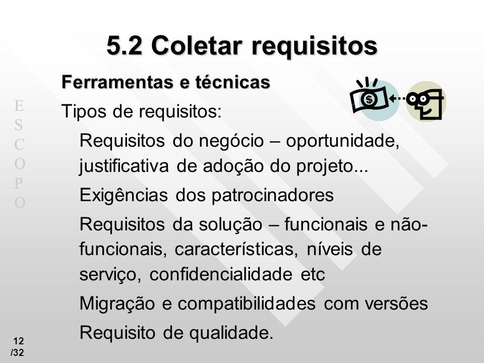 ESCOPOESCOPO 12 /32 5.2 Coletar requisitos Ferramentas e técnicas Tipos de requisitos: Requisitos do negócio – oportunidade, justificativa de adoção d