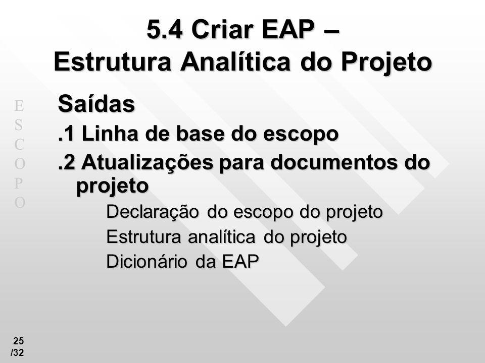 ESCOPOESCOPO 25 /32 5.4 Criar EAP – Estrutura Analítica do Projeto Saídas.1 Linha de base do escopo.2 Atualizações para documentos do projeto Declaraç