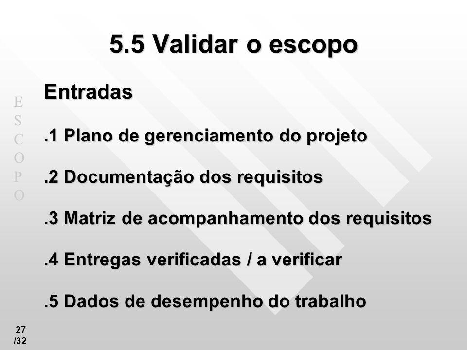 ESCOPOESCOPO 27 /32 5.5 Validar o escopo Entradas.1 Plano de gerenciamento do projeto.2 Documentação dos requisitos.3 Matriz de acompanhamento dos req