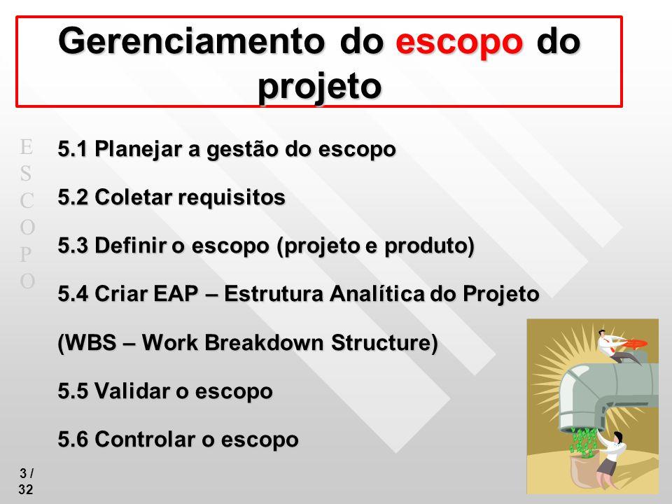 ESCOPOESCOPO 4 / 32 5.1 Planejar a gestão do escopo É o processo que estabelece o documento que mostra como a equipe irá definir o escopo do projeto, desenvolver a declaração do escopo detalhada, definir e desenvolver a estrutura analítica do projeto, validar e controlar o escopo do projeto.