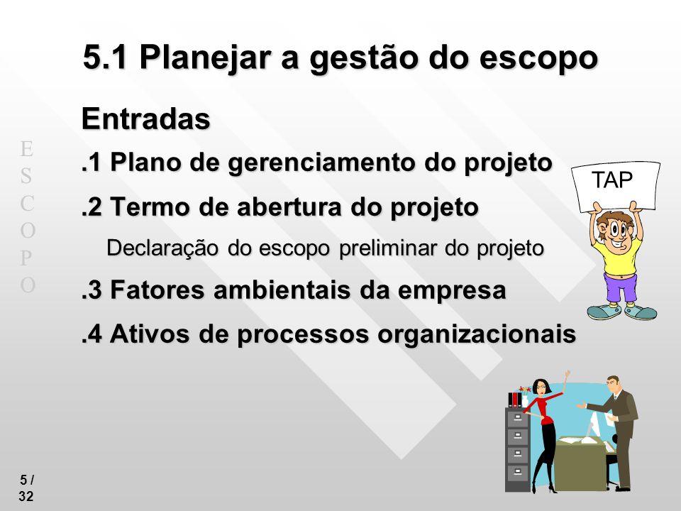 ESCOPOESCOPO 16 /32 5.3 Definir o escopo Entradas.1 Plano de gerenciamento do escopo.2 Termo de abertura do projeto.3 Documentação dos requisitos Como todos os requisitos podem não ser incluídos (por ora) no projeto, a definição vai selecionar os que entram nesta versão..4 Ativos de processos organizacionais