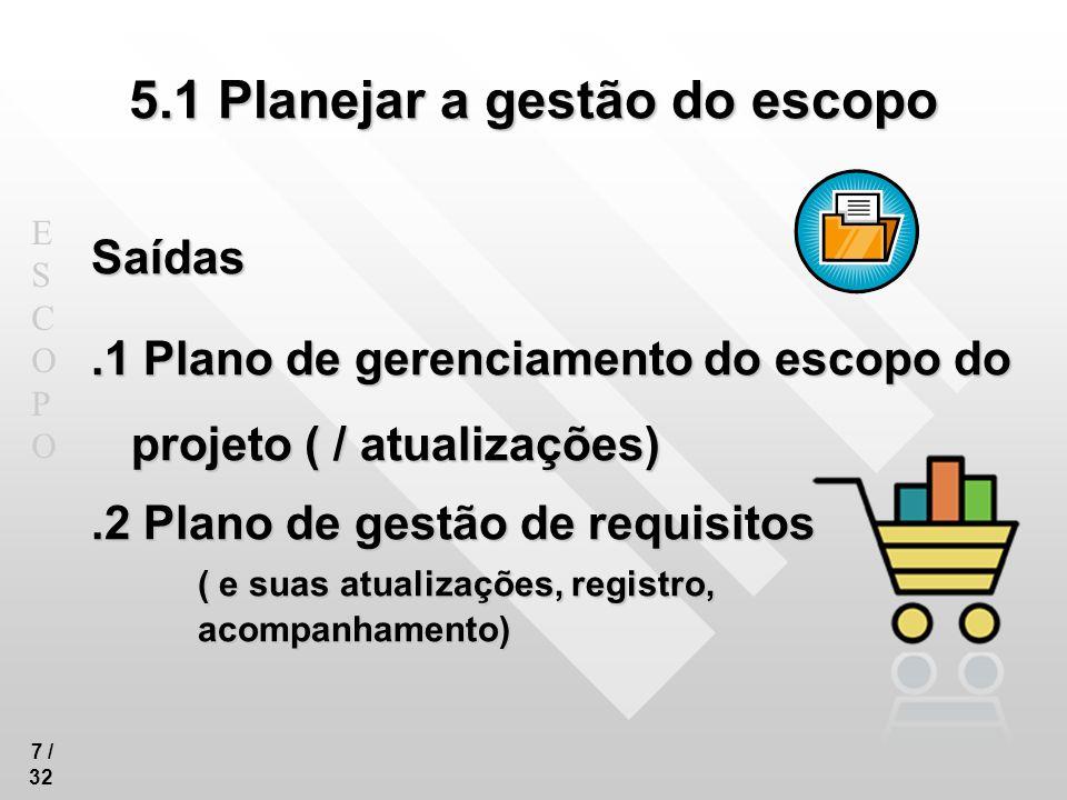 ESCOPOESCOPO 7 / 32 5.1 Planejar a gestão do escopo Saídas.1 Plano de gerenciamento do escopo do projeto ( / atualizações).2 Plano de gestão de requis