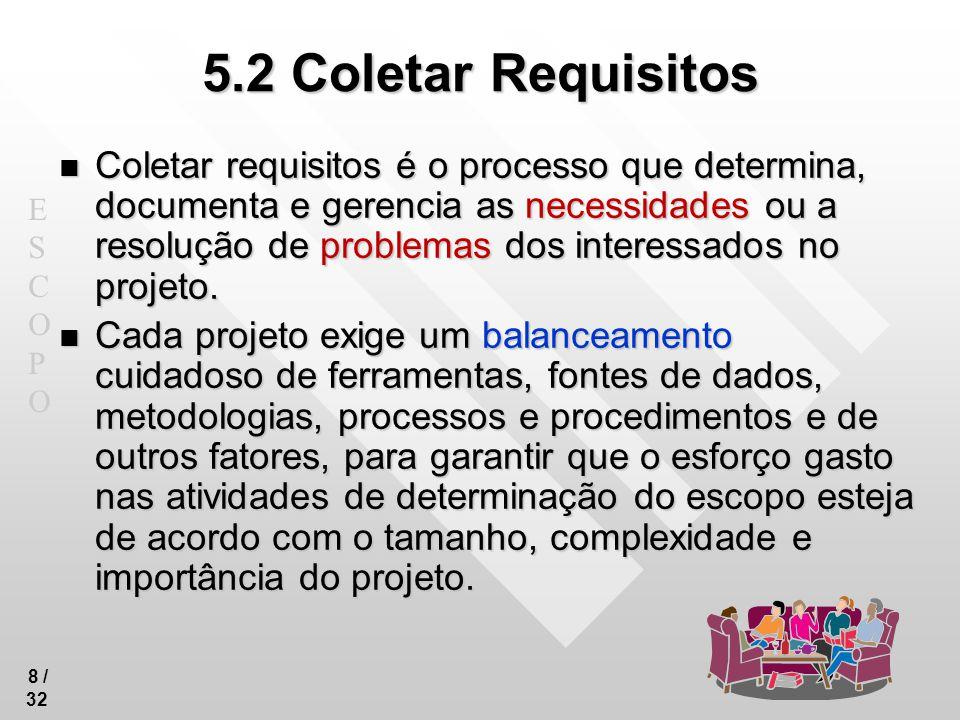 ESCOPOESCOPO 9 / 32 5.2 Coletar Requisitos Necessidades, desejos e expectativas das partes interessadas são analisados e convertidos em requisitos.